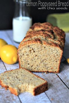 Whole Wheat Lemon Poppyseed Bread with Chia Seeds | www.joyfulhealthyeats.com | #bread #lemon #poppyseed #chiaseeds #breakfast