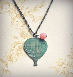 vintage hot air balloon necklace