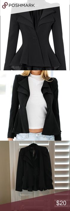 Lookbook Store Double Label Fit and Flare Blazer Stylish, quirky and comfy Black Blazer. Cinches at waste with one button close. Gives your figure a great silhouette. Great for work or a night out. Never been worn with tags. Lookbook Store Jackets & Coats Blazers