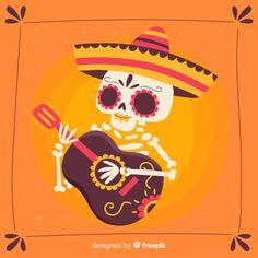 Fondo colorido del día de los muertos dibujado a mano vector gratuito Day Of Death, Japanese Tattoo Symbols, Day Of The Dead Art, Skull Illustration, Mexico Art, Traditional Japanese Tattoos, Art Impressions, Airbrush Art, Disney Halloween