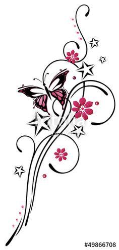 """Laden Sie den lizenzfreien Vektor """"Tattoo, Blumen, Blüten, Schmetterling, pink, rosa"""" von christine krahl zum günstigen Preis auf Fotolia.com herunter. Stöbern Sie in unserer Bilddatenbank und finden Sie schnell das perfekte Stockbild für Ihr Marketing-Projekt!"""