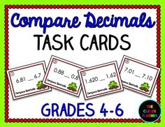 32 Decimal Task Cards: Compare decimals to the thousandths place. You can use these in math centers, to play SCOOT!, as a review, and more! Answer key & TWO recording sheets included. $