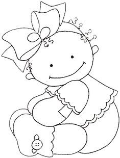 riscos desenhos pintura fraldas bebes ~ applique or let the kids color it Hand Embroidery Patterns, Applique Patterns, Embroidery Applique, Embroidery Designs, Colouring Pages, Coloring Sheets, Coloring Books, Copics, Digital Stamps