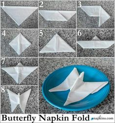 50 Attention-Grabbing Napkin Folding Ideas that You Cannot Overlook - - For the forthcoming festival season, learn how to fold napkins in unique shapes like hats, shirt, flowers etc. Explore creative napkin folding ideas here. Fancy Napkin Folding, Folding Napkins, Dining Etiquette, Butterfly Wedding, Origami Butterfly, Cloth Napkins, Dinner Table, Napkin Rings, Tea Party