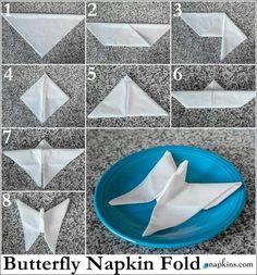 Doblar servilleta forma de mariposa