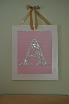 """button monogram...very cute idea. Would be even better with a green ribbon or combo of green and white buttons and in a letter """"R"""" of course :)"""