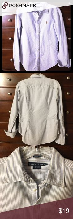 Ralph Lauren stripped long sleeved button down Classic Ralph Lauren light blue & white stripped long sleeved button down. Has the signature polo logo. Great alone or as a layer piece. Skinny fit so fitted well to the body. Ralph Lauren Tops Button Down Shirts
