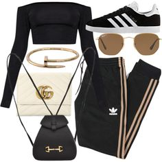 Untitled #22085 by florencia95 on Polyvore featuring polyvore, fashion, style, adidas, Gucci, Cartier, Ray-Ban, adidas Originals and clothing
