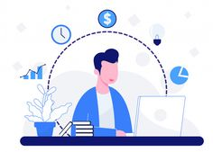 People play laptops and business element. People Illustration, Business Illustration, Flat Illustration, Character Illustration, Graphic Design Illustration, Digital Illustration, Vector Illustrations, Vector Character, Character Design