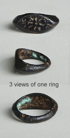 "an unusual and very collectible Pyu bronze ring from Burma.  It is heavily patinated and a few hundred years old.  The top image is that of an eye decorated with lines that make me think of a star.  You can see gold rings of the same shape on page 166 of ""A World of Rings"".  The eye shape is 13/16 inch across.  oldbeads.com"