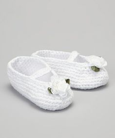 White Rose Crocheted Mary Jane Bootie by Pink and Blue Knitwear #zulily #zulilyfinds