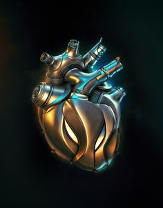 Heart Engine Delivering the world's best CGI. Discover our exclusive, curated collection of images and animations from leading digital artists. Mechanical Engineering Design, Steampunk Heart, Wolf Artwork, Biomechanical Tattoo, Robot Concept Art, Heart Wallpaper, Futuristic Technology, Cyberpunk Art, Heart Art