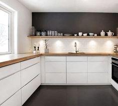Tris Wall above the shelf - # shelf - - Küche - Home Sweet Home New Kitchen, Kitchen Decor, Scandinavian Kitchen, Minimalist Kitchen, Küchen Design, Home Kitchens, Home Furnishings, Kitchen Remodel, Home Furniture