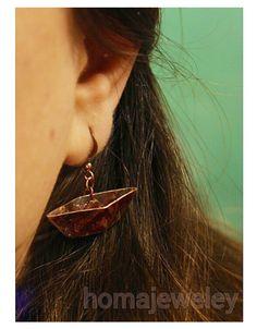 Copper boat earring