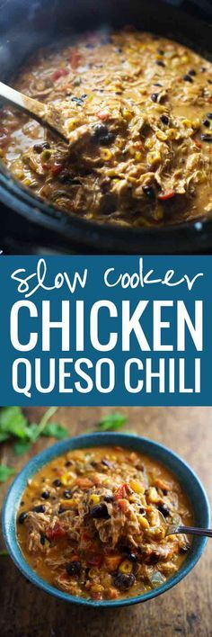 Crockpot Queso Chicken Chili with Roasted Corn and Jalapeño - Loaded with veggies, super flavorful, perfect for chip dippin'.
