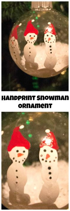 Handprint Snowman Ornament. Using kids hand prints and white paint you can easily make these Handprint Snowman Ornament keepsakes. #diy #christmas #homemade #homemadeornament #diyornament #ChristmasHandprint #christmasFootprint #christmasDIY
