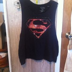 Superman cutoff tee Cool black cutoff tee with the superman logo in a galaxy print with studs around the outside. DC Comics Tops Muscle Tees