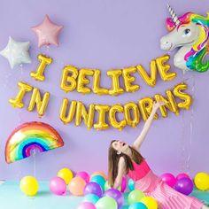 I Believe In Unicorns - Mylar Balloon Phrase Pack at Studio DIY