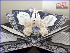 Navy Blue Wedding Anniversary Exploding Box Card