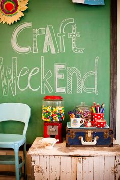 Large chalkboard for the entrance! I would love to paint my wall in the mud room with chalk board paint!!