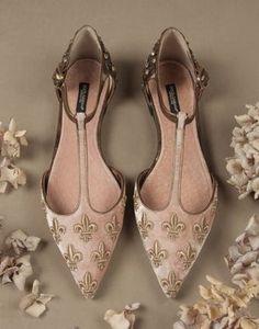 STUDDED EMBROIDERED VELVET BELLUCCI BALLET FLATS - Ballet flats - Dolce&Gabbana - Winter 2015