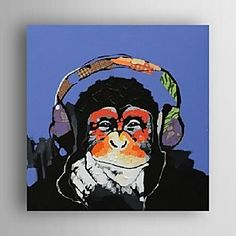 Oil Painting Modern Abstract Gorilla Music Hand Painted Canvas with Stretched Frame