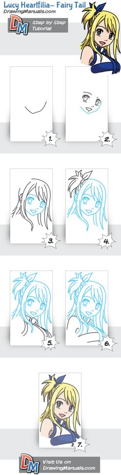 Lucy Heartfilia – Fairy Tail, Anime Step-by-Step Drawing Tutorial
