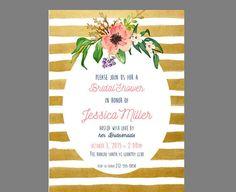 Set of Printed Invitations + Envelopes or Digital File - gold Striped Floral Watercolor Bridal Wedding Shower or Baby Shower Invitation