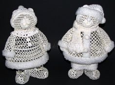 "Crocheted Mr. & Mrs. Bear; approx. 10"" tall.  There is no pattern for these; commercially mass-produced and made in China.  Sold by Kmart in the late 70's or early 80's under their Trim-a-Home label.  Just one of many in series of Crocheted Decorations."