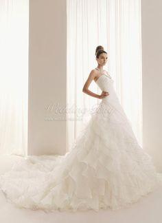 A-line Halter With Rhinestones White Organza Wedding Dresse on sale US$172 A-line Wedding Dresses