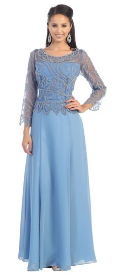 This elegant mother of bride groom gown made of sequins embroideries sheer mesh and chiffon material. This dress is great for all special occasions. Fabric : Chiffon Zipper Back Length : Full length Sleeve Style : Long Sleeve Colors : Black, Cappuccino, Silver, Perry Winkle Sizes : M, L, XL, 2XL, 3XL, 4XL, 5XL Fully Lined Soft Cup Inserts Occasion : Formal, Evening Party, Mother of the Bride, Mother of the Groom, Church, Wedding Guest