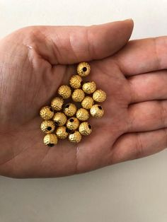 51f90b45822 8mm 22kt Gold Plated Ball Beads,Spacer Beads, 20 pcs Matte Gold, Silver