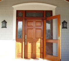 Wooden Front Door With Glass Door.