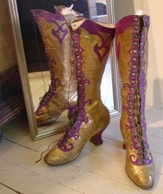Wild gold boots with purple swirls, made by Cammeyer Shoes, 1890s