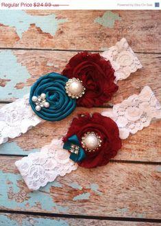SALE/ Wedding garter burgundy and teal by FallenStarCoutureInc, $19.99