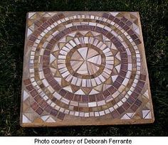 Deborah's mosaic stepping stone with medallion pattern