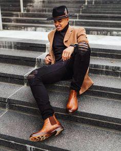 Black Men Casual Style, All Black Men, Sharp Dressed Man, Well Dressed Men, Smart Casual, Black Men Street Fashion, Men Fashion, Men Dress Up, Moda Blog
