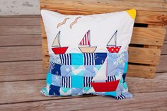 homemade quilt pillowcase, for young sailors, decorative pillow cover