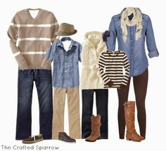 Fall family picture outfit ideas, what to wear for family photos, outfit ideas for fall pictures, denim and neutral colors, fall pictures Neutral Family Photos, Family Photos What To Wear, Winter Family Photos, Family Pics, Fall Photos, Fall Family Photo Outfits, Family Portrait Outfits, Family Photo Colors, Fall Family Portraits
