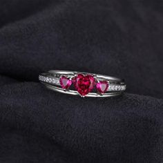 Love Heart 0.9ct Created Red Ruby 3 Stones Anniversary Promise Ring - More Things For You