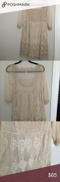 Free People lace dress Cute , Lacey, flowy dress. Looks adorable with boots. Free People Dresses Midi