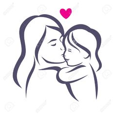 Illustration about Mother and baby stylized vector silhouette, outlined sketch of mom and child. Illustration of icon, design, mother - 59441212 Tattoo Mama, Mommy Tattoos, Mother Tattoos, Mom Daughter Tattoos, Tattoos For Daughters, Mother And Daughter Drawing, Mother And Child, Drawing Sketches, Art Drawings