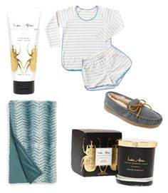"""""""Comfy nights. A few of my favorite things. Lake Pajamas/Minnetonka slippers/faux fur Nordstroms blanket/ India Hicks body lotion and yummy Candles"""" by christina-galvan-thompson on Polyvore featuring Nordstrom and Minnetonka"""