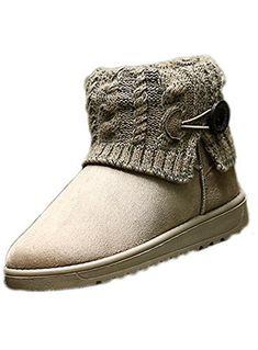 Lalang Femme Bottes de Neige Hiver Chaudes Bottes Boots Fourrées Cheville  Chaussures 5a5e6ddb53cd
