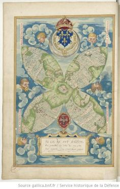Guillaume Testu (1509-72) 4-panel World: Cosmographie universelle 1555