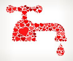Water Tap Red Hearts Love Pattern vector art illustration