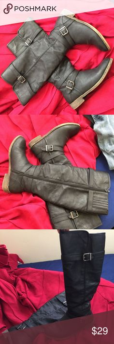 Black riding boots Just Fab size 9 very comfortable everyday boot Shoes