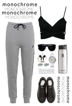 """my outfit :)"" by yrin ❤ liked on Polyvore featuring NIKE, PhunkeeTree, Y-3, Cara, FOSSIL, Edge Only and monochrome"