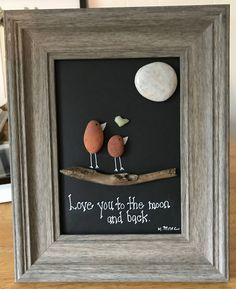 Pebble art :Love You to the Moon and Back, rock art, Wedding gift, Nature Gift, Valentine's day rock art, gift for her by RoknArt on Etsy https://www.etsy.com/listing/542056630/pebble-art-love-you-to-the-moon-and-back