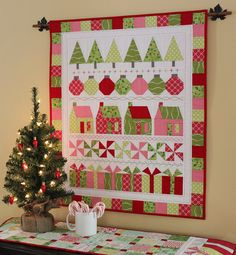 Merry and Bright Quilt Pattern PDF by Jen Daly Quilts Christmas Tree Quilt Pattern, Christmas Blocks, Christmas Sewing, Christmas Trees, Plaid Christmas, Christmas Present Quilt, Christmas Quilting, Christmas Candy, Hanging Quilts